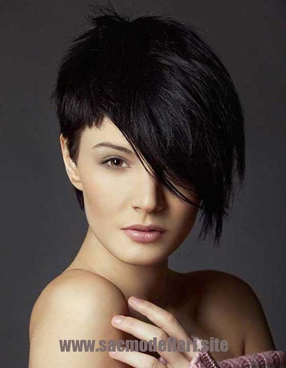 Yuvarlak Yüz Asimetrik Kısa Saç Modeli