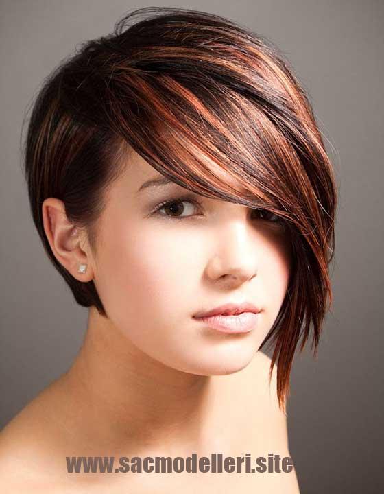 Genç Kızlar için Asimetrik Saç Modeli