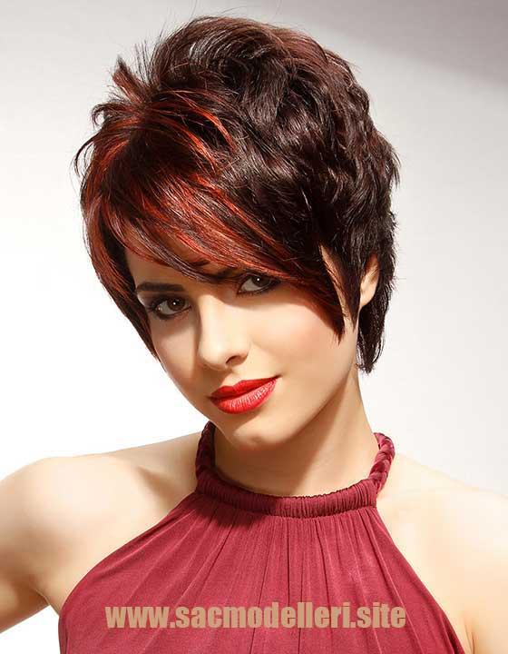Kızıl Gölgeli Kahverengi Kısa Saç