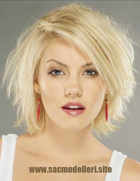 Katlı Sarı Kısa Saç Modeli