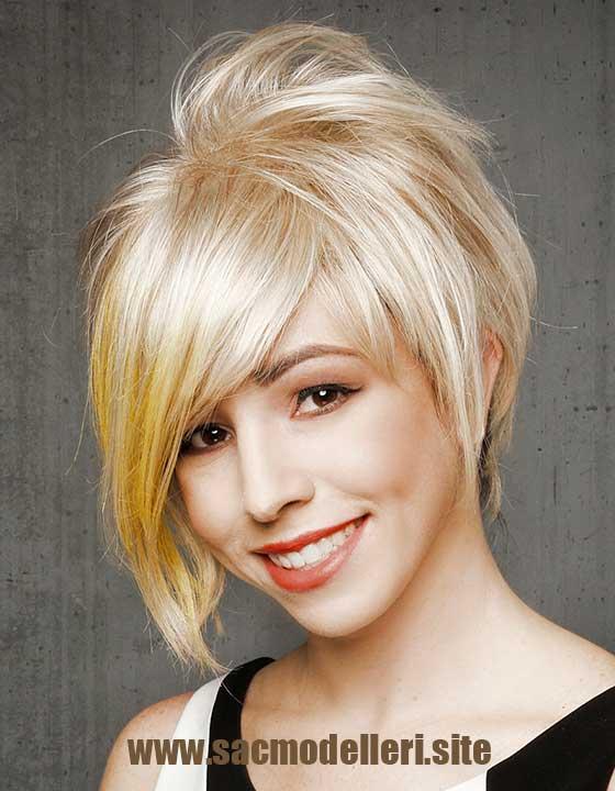 Yuvarlak Yüz Sarı Kısa Saç Modeli
